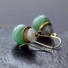 Absinthe and Moonstone Earrings Chrysoprase Gemstone Mint Green Gold Lush Color Handmade Jewelry