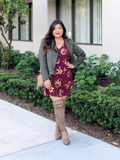 7ca469520e34 Curvy Girl Chic Plus Size Fashion Blogger Thanksgiving Outfit Idea with  Floral Dress and Olive Moto