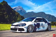 VW Scirocco #camo #bagged on #vossen wheels