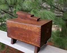 Rustic Shoe Shine Box Dovetailed Mid Century by OldFangledFinds