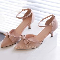 [US$ 69.99] Women's Leatherette Stiletto Heel Sandals Pumps Closed Toe With Bowknot Buckle shoes