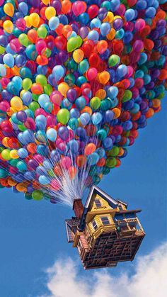 In the Disney/Pixar movie UP there is a scene where the editor forgot to edit all the balloons making the house float out of the shot. Cartoon Wallpaper, Ios 7 Wallpaper, Disney Phone Wallpaper, Tumblr Wallpaper, Galaxy Wallpaper, Screen Wallpaper, Movie Wallpapers, Cute Wallpapers, Iphone Wallpapers
