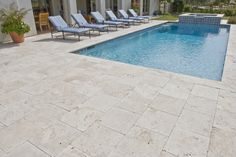 Beautiful Travertine Pavers For Patio And Garden Design Ideas: Charming Outdoor Chaise Lounges With Outdoor Pool And Travertine Pavers For Pool Deck And Outdoor Design