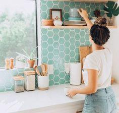 Ideas kitchen backsplash blue cabinets open shelving for 2019 Backsplash For White Cabinets, Blue Cabinets, Kitchen Backsplash, Backsplash Ideas, Tile Ideas, Bathroom Cabinets, Bohemian Kitchen, Eclectic Kitchen, Modern Bohemian