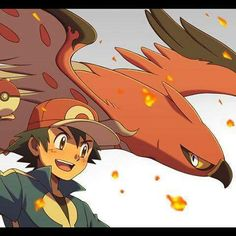 Beautiful ♡ Ash Ketchum with his Talonflame ^_^ ^.^ ♡ I give good credit to whoever made this
