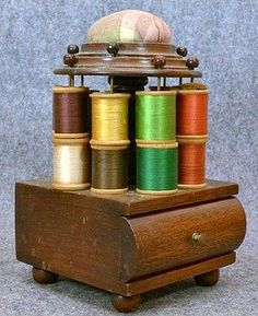 antique 1800s sewing box table top pin cushion silk thread spools original | eBay I just today bought one like this with a paper tag on the bottom that reads Heilman's Cabinet Works, 528 N. seventh St., Lebanon, Pa