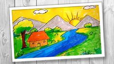How to draw a sunrise with colored pencils. How to draw a sunrise on the beach. Sunrise Drawing, Lotus Drawing, Sunrise Painting, Nature Drawing, Drawing Scenery, Boat Drawing, Scenery Paintings, Drawing For Kids, Flower Drawing Images