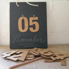 Perpectual calendar and Count down chalkboard. $90.00, via Etsy.