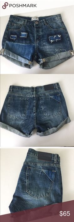 One Teaspoon Charger Shorts One Teaspoon cuffed denim cutoffs in the style Charger. Size 26. Flat lay measurements: waist is 15.75, rise 9.5, and inseam 3. A relaxed fit made to be worn low on the hips. Rectangular patches and two tone denim. One Teaspoon Shorts Jean Shorts