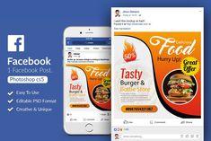 Fast Food Restaurant Facebook Post by Design Up on @creativemarket