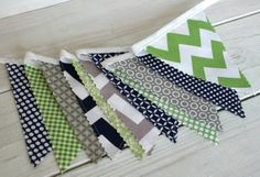 Bunting, Banner, Photography Prop, Fabric Flags, Nursery Decor, Birthday Decoration  - Gray, Green and Navy Blue Chevron - Ready to Ship