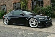 BMW E92 M3 black widebody slammed