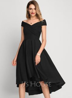 [US$ 107.00] A-Line Off-the-Shoulder Asymmetrical Stretch Crepe Cocktail Dress Wedding Shoes, Wedding Dresses, Maid Of Honor, Stretches, Off The Shoulder, Beautiful Dresses, Swatch, Cocktails, My Style