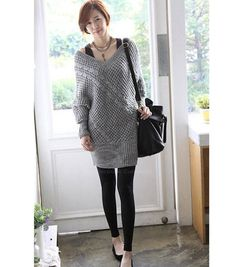 Modern Style V-Neck Knit Pattern Dresign Batwing Sleeve Knitting Women's Sweater (DEEP GRAY,ONE SIZE), Women's Sweaters & Cardigans - fashiondresswholesale.com