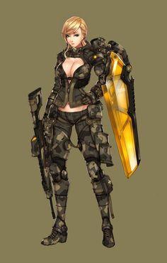 "art-of-cg-girls: """"Shield dragon EX"" by Ren Wei Pan "" Female Character Design, Character Creation, Character Design Inspiration, Character Concept, Character Art, Female Armor, Sci Fi Armor, Robot Concept Art, Military Girl"