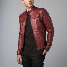 Hamilton Lamb Leather Biker Jacket // Red Purple (Euro: 46)