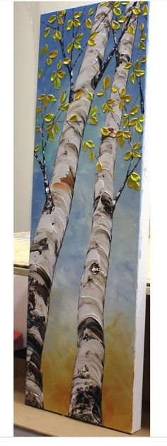 Birch Tree Painting Triptyque Wall Art Tall Tree Painting Colorful Art Palette Knife Interior Decor Large Painting Set of 3 par Nata S Texture Painting, Large Painting, Painting Canvas, Canvas Art, Texture Drawing, Acrylic Paintings, Tree Paintings, Tree Artwork, Painting Walls