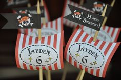 Pirate Party pdf printable PERSONALIZED cupcake toppers / buffet table sails and flags on Etsy, $8.00