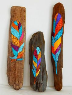 Your place to buy and sell all things handmade,Hand painted driftwood feather by Malu Castro. by ColorfulMalu How To Produce Wood Art ? Wood art is typically the job of surrounding around and i. Wood Feather, Feather Art, Painted Driftwood, Driftwood Art, Nature Crafts, Decor Crafts, Driftwood Projects, Driftwood Ideas, Painted Sticks