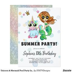 Unicorn & Mermaid Pool Party Invitation
