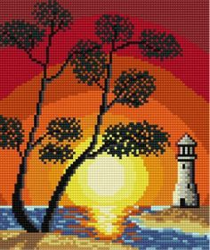 t Melty Bead Patterns, Hama Beads Patterns, Beading Patterns, Cross Stitch House, Simple Cross Stitch, Cross Stitch Tree, Perler Bead Art, Perler Beads, Tapestry Crochet