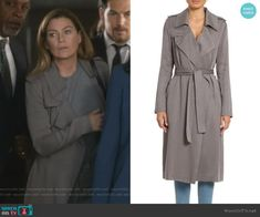 Meredith's grey trench coat on Greys Anatomy Fashion Tv, Grey Fashion, Fashion Outfits, Greys Anatomy Set, Grey's Anatomy, Grey Trench Coat, Themed Outfits, Other Outfits, Striped Tank Top