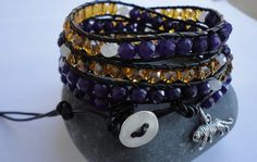 LSU Tigers  Beaded Leather Wrap Bracelet by justhipstuff on Etsy