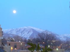 Full moon over mountains-Red Butte mountain. This is the view from my window