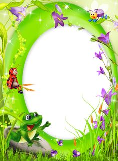 Green Transparent PNG Photo Frame with Frog.