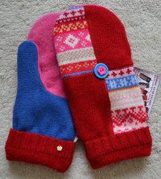 HANDMADE recycled wool sweater MITTENS Fleece by NordicStarStudio
