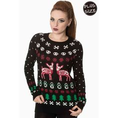 The Spooky Vegan: Wear These Ugly Christmas Sweaters to Scare Your Family this Creepmas Holiday Sweater, Ugly Christmas Sweater, Christmas Jumpers, Christmas Tree, Girly Things, Being Ugly, Rockabilly, Plus Size, Fashion Outfits