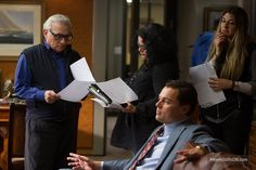 "Martin Scorsese working on ""The Wolf of Wall Street"" with Leonardo Dicaprio."