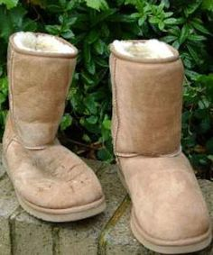 Ugg Boots before and after being washed with a suede/leather shampoo