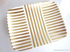 DIY Gold Leaf Jewelry Tray - Homey Oh My!