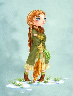 """Disney girls dressed in Mori Girl style - Anna from """"Frozen"""" - Art by morganevelten.tumblr.com - For a quick overview on what Mori Girl style is, click here: http://www.buzzfeed.com/cathyngo/forest-girls-rock#.xkpZo1Lrdb"""