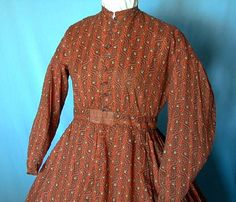 Calico Work Dress, Old Sacramento Living History Crazy Dresses, Simple Dresses, Nice Dresses, Dresses For Work, Civil War Fashion, 1800s Fashion, Cotton Dresses, Clothes For Women, Bodice