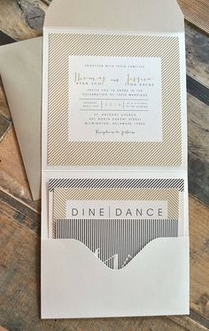 I like the envelope - Ellie Pocketfold Wedding Invitation Suite with Twine Tie Band & Stripes - Ivory, Gold, Pewter Silver (Color and Verbiage are Customizable). $7.99, via Etsy.