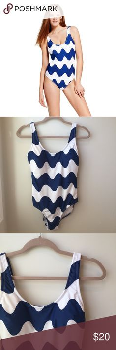 NWOT Marimekko for Target Swim Lokki pattern, blue and white design. Fun strap detail in the back. Size Medium, Hygienic liner still attached. Marimekko for Target Swim One Pieces