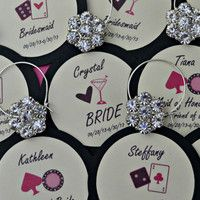 Wine Charm Favors Vegas Customized Personalized Bachelorette Party Bridal Shower Girls Night Out