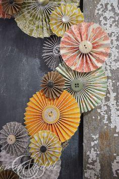 Paper Rosette Fall Wreath