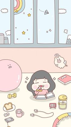 堆糖-美好生活研究所 Cute Pastel Wallpaper, Cute Wallpaper For Phone, Kawaii Wallpaper, Cute Kawaii Drawings, Kawaii Art, Cute Cartoon Wallpapers, Pretty Wallpapers, Aesthetic Iphone Wallpaper, Wallpaper Backgrounds