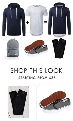 """""""URBANCREWS Mens Basic Elong Crewneck T-shirt Outfit"""" by urbancleo ❤ liked on Polyvore featuring Levi's, Vans, Herschel Supply Co., women's clothing, women's fashion, women, female, woman, misses and juniors"""