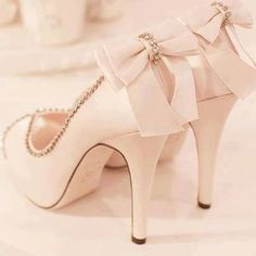 Beautiful high heels with bow