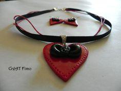 Pendentif coeur rouge+boucles en pâte fimo de CréAT Fimo sur DaWanda.com 12euros