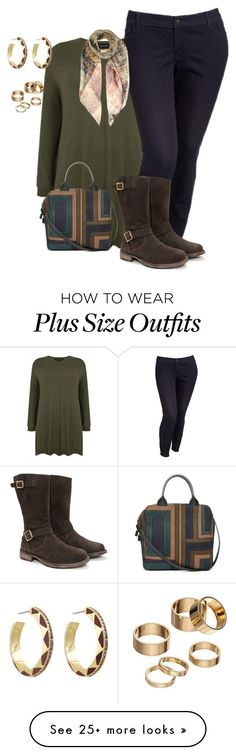 """""""plus size fall/winter casual chic"""" by kristie-payne on Polyvore featuring Old Navy, House of Harlow 1960, Tory Burch, Apt. 9, JJ Footwear and Valentino"""