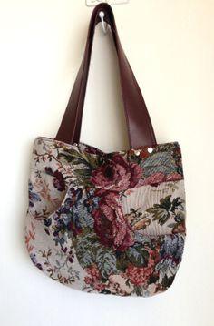 Rose Tapestry Fabric handbag in Plum Burgundy Pink Green Cabbage Rose Floral  Pattern