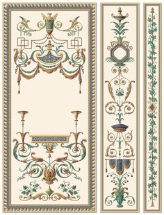 THORNHILL : - Traditional wallpaper / patterned / baroque / handmade by Paul Montgomery Studio Wall Painting Decor, Art Decor, Chinoiserie, Motif Arabesque, Trumeau, Decorative Panels, Traditional Wallpaper, Mural Art, Pattern Wallpaper