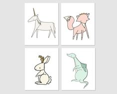 Nursery Art :  A set of prints of enchanted creatures, including a unicorn, dragon, jackalope, and royal fox. A beautiful addition to your nursery.  You can CUSTOMIZE these prints to any colors you choose, either from the color chart or a picture or link, just let me know and I can create a custom listing for you!  *Be sure to select your size in the drop down box above.  Here at Sweet Melody Designs we love creating cute art for your little ones rooms. We believe in encouraging the…