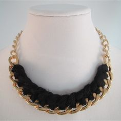 Gold-tone Chain Link and Black Yarn Woven Necklace