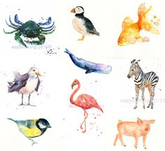 Watercolor. Love the ocean animals... wouldn't mind a few prints.